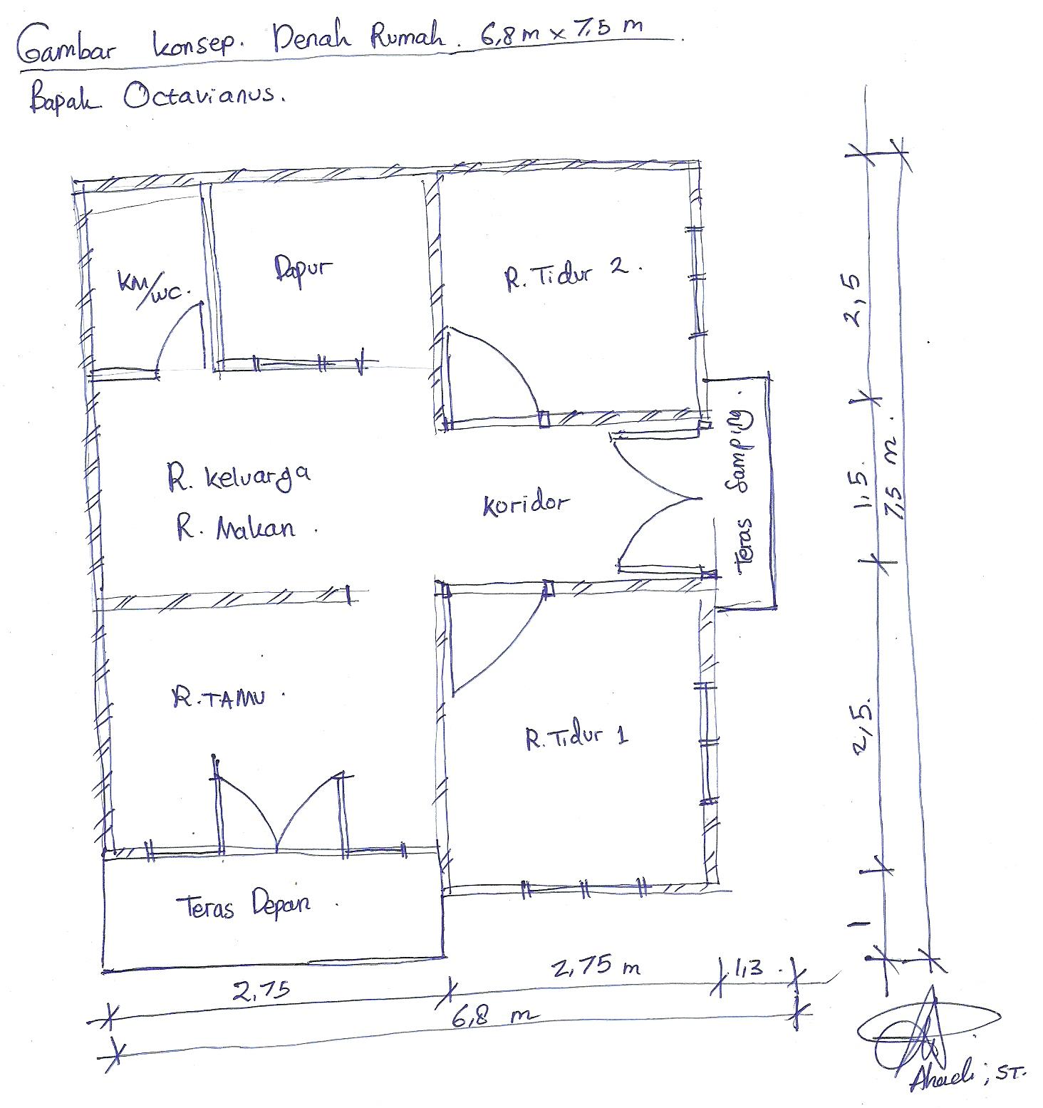 denah rumah ukuran 6 x 7