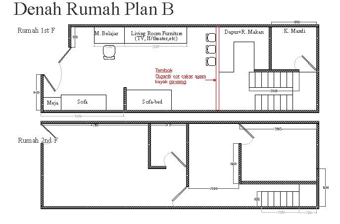 rencana denah rumah alternatif 2