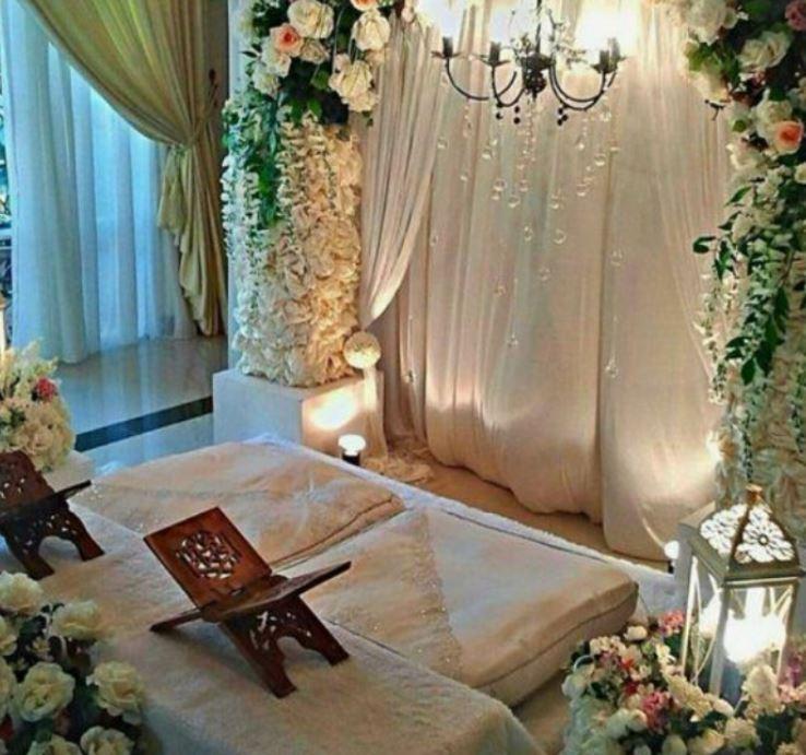 dekorasi akad nikah lesehan di rumah
