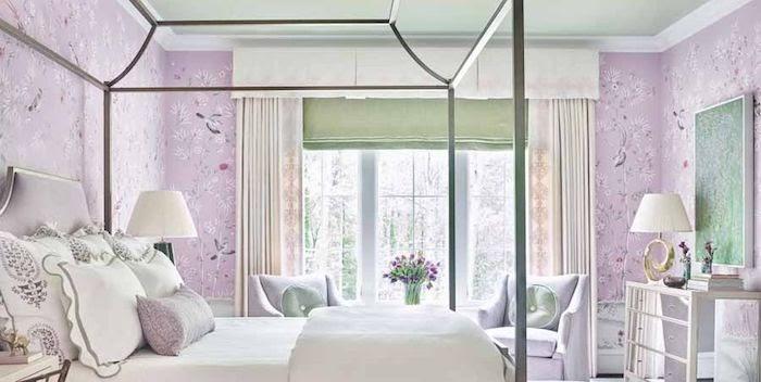 kamar warna ungu pastel