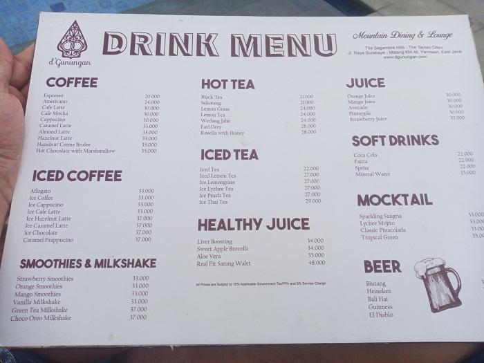harga minuman di d'gunungan taman dayu