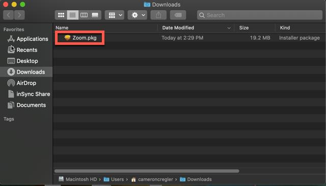 Lokasi installer Zoom