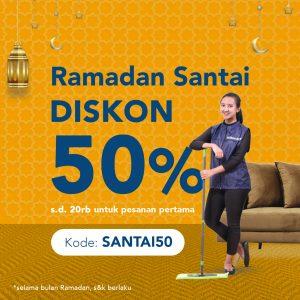 Diskon 50% layanan kebersihan
